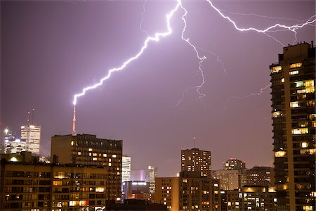 Lightening Striking CN Tower, Toronto, Ontario, Canada Stock Photo - Rights-Managed, Code: 700-05855064