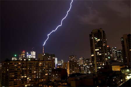 Lightning Striking Building at Night, Toronto, Ontario, Canada Stock Photo - Rights-Managed, Code: 700-05855066
