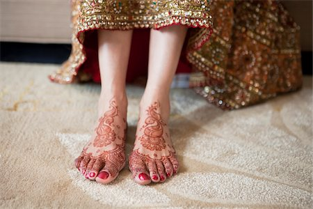 Bride with Henna on Feet Stock Photo - Rights-Managed, Code: 700-05855067