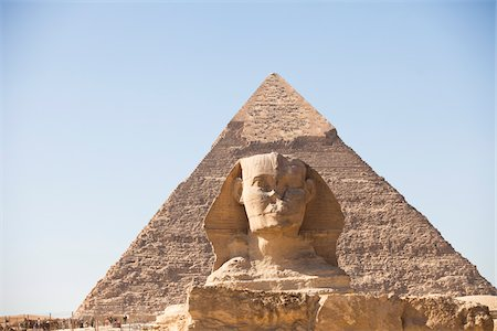 Sphinx and Great Pyramid of Giza, Cairo, Egypt Stock Photo - Rights-Managed, Code: 700-05855202