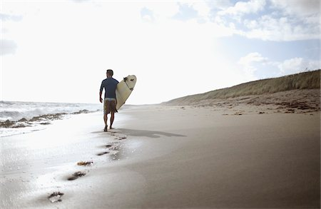 rear - Surfer Walking on Beach Stock Photo - Rights-Managed, Code: 700-05947671