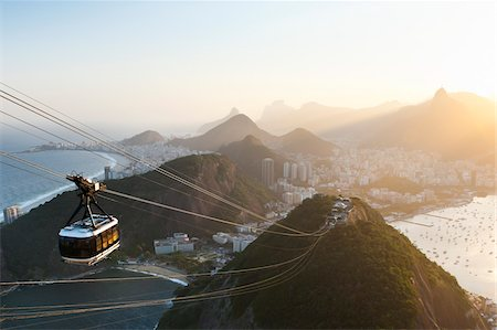 Rio de Janeiro and Tram as seen from Sugarloaf Mountain, Rio de Janeiro, Brazil Stock Photo - Rights-Managed, Code: 700-05947894