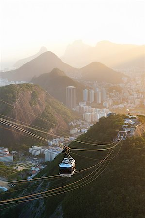 Rio de Janeiro and Tram as seen from Sugarloaf Mountain, Rio de Janeiro, Brazil Stock Photo - Rights-Managed, Code: 700-05947892
