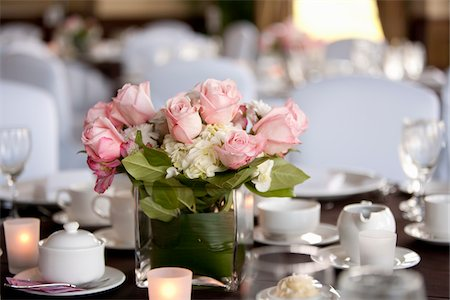 Roses in Vase on Table at Wedding Reception Stock Photo - Rights-Managed, Code: 700-05948021
