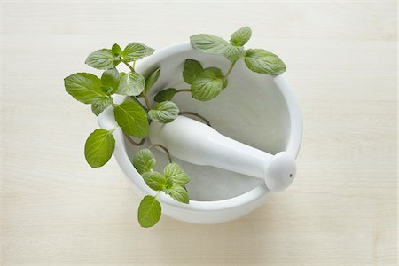 Still Life of Mortar and Pestle with Mint Stock Photo - Rights-Managed, Code: 700-05948037