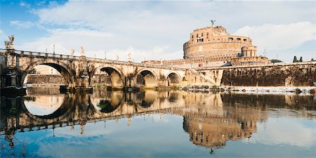Castel Sant'Angelo and Ponte Sant'Angelo in Winter, Rome, Lazio, Italy Stock Photo - Rights-Managed, Code: 700-05948113