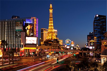 Las Vegas Strip at Night, Las Vegas, Nevada, USA Stock Photo - Rights-Managed, Code: 700-05948230