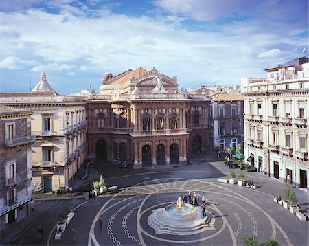 Teatro Massimo Bellini and Piazza Vincenzo Bellini, Catania, Sicily, Italy Stock Photo - Rights-Managed, Code: 700-05974005