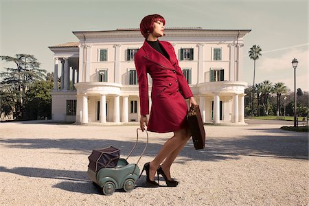funny looking people - Woman with Briefcase and Toy Carriage Stock Photo - Rights-Managed, Code: 700-05974020
