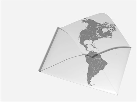 Map of Americas Printed on Envelope Stock Photo - Rights-Managed, Code: 700-05974044