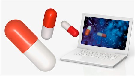 Pills and Laptop Computer Stock Photo - Rights-Managed, Code: 700-05974046