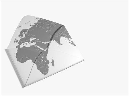 World Map Illustration on Envelope Stock Photo - Rights-Managed, Code: 700-05974043
