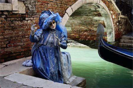 Woman in Costume near Canal During Carnival, Venice, Italy Stock Photo - Rights-Managed, Code: 700-05973328