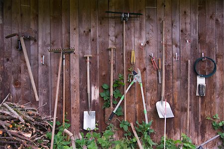 Garden Tools Hanging on Wall Stock Photo - Rights-Managed, Code: 700-05973447
