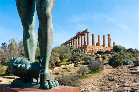 Temple of Juno and Gambe Alate Sculpture, Valley of the Temples, Agrigento, Sicily, Italy Stock Photo - Rights-Managed, Code: 700-05973455