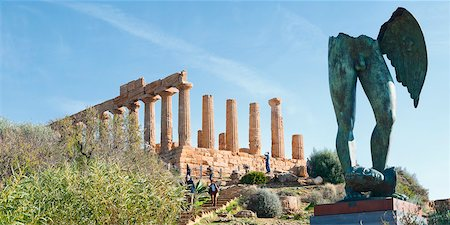 Temple of Juno and Gambe Alate Sculpture, Valley of the Temples, Agrigento, Sicily, Italy Stock Photo - Rights-Managed, Code: 700-05973457