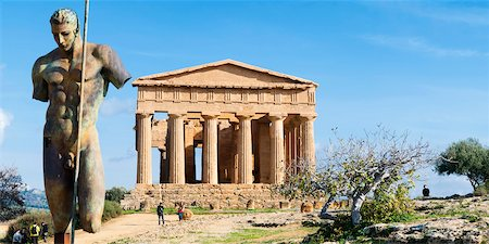 Tempio della Concordia and Daedalus Sculpture, Valley of the Temples, Agrigento, Sicily, Italy Stock Photo - Rights-Managed, Code: 700-05973458