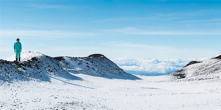 Person Standing on Snow-Covered Mount Etna, Catania, Sicily, Italy Stock Photo - Rights-Managed, Code: 700-05973464