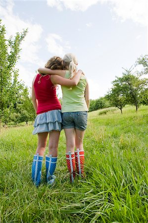 Rearview of Two Teenage Girls Outdoors Stock Photo - Rights-Managed, Code: 700-05973469