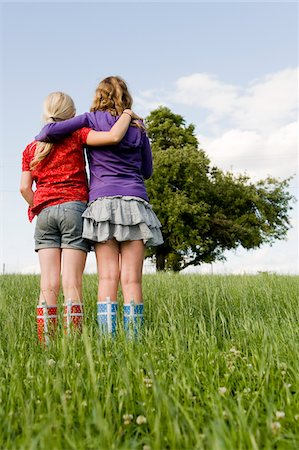 rear - Two Girls Standing in Field Stock Photo - Rights-Managed, Code: 700-05973514