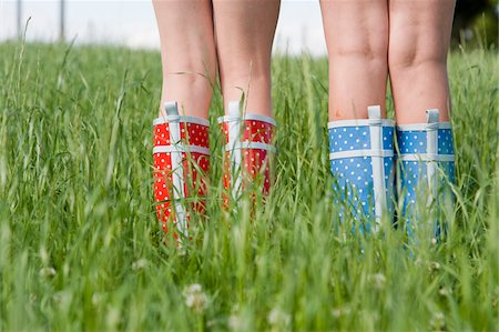 Close-Up of Girls Wearing Rubber Boots Stock Photo - Rights-Managed, Code: 700-05973515