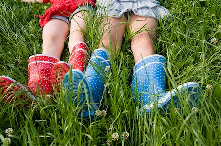 Close-Up of Girls Wearing Rubber Boots Stock Photo - Rights-Managed, Code: 700-05973510