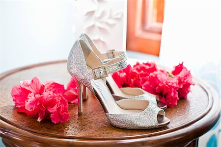 Silver Shoes and Pink Flowers Stock Photo - Rights-Managed, Code: 700-05973637