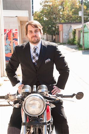 funky - Man Wearing Suit Sitting on Motorcycle Stock Photo - Rights-Managed, Code: 700-05973653