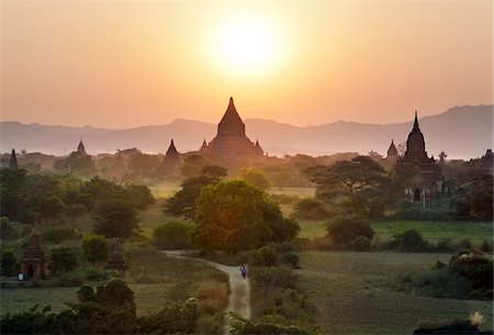Temples at Sunset from Shwesandaw Pagoda, Bagan, Myanmar Stock Photo - Rights-Managed, Code: 700-05973763