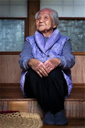 Portrait of Elderly Woman, Yo Village, Akari Towni, Amami Oshima, Amami Islands, Kagoshima Prefecture, Japan Stock Photo - Rights-Managed, Code: 700-05973992