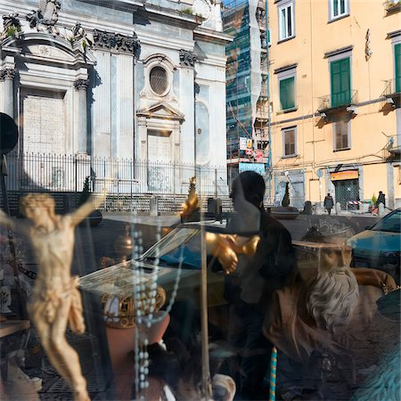 Reflection in Store Window, Naples, Campania, Italy Stock Photo - Rights-Managed, Code: 700-06009152