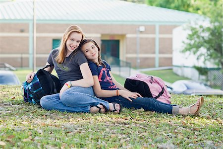 preteen thong - Portrait of Two Teenage Girls on School Grounds Stock Photo - Rights-Managed, Code: 700-06009195