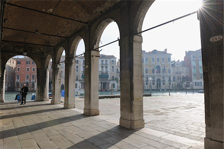 Colonnade near Canal, Venice, Veneto, Italy Stock Photo - Rights-Managed, Code: 700-06009333