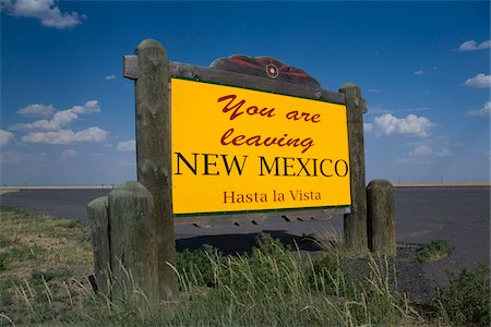 New Mexico State Border Sign Stock Photo - Rights-Managed, Code: 700-06037899