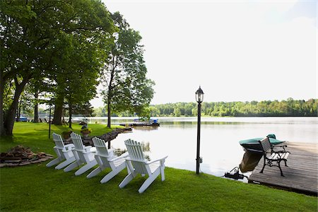 Lawn Chairs, Bobcaygeon, Trent-Severn Waterway, Ontario, Canada Stock Photo - Rights-Managed, Code: 700-06037917
