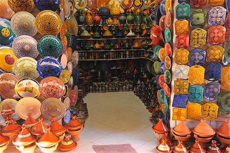 Pottery Store with Colorful Ceramics, Marrakech, Morocco Stock Photo - Rights-Managed, Code: 700-06038014