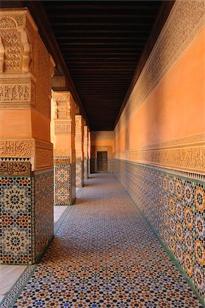 decorative - Colonnade, Ben Youssef Madrasa  Marrakech, Morocco Stock Photo - Rights-Managed, Code: 700-06038029