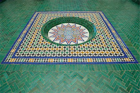 decorative - Patterned Tile Floor, Ben Youssef Madrasa, Marrakech, Morocco Stock Photo - Rights-Managed, Code: 700-06038032