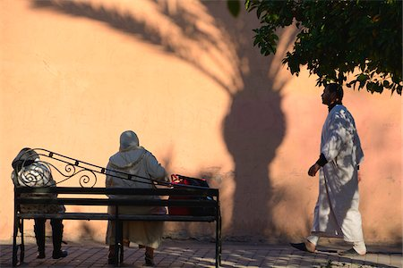rear - Everyday People Walking and Sitting on Bench, Marrakech, Morocco Stock Photo - Rights-Managed, Code: 700-06038055