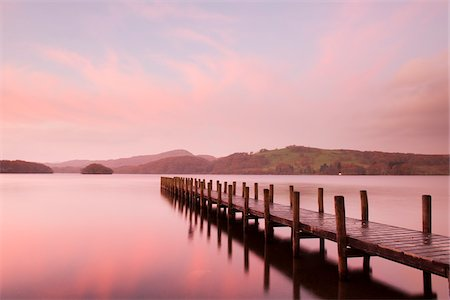 pink - Wooden Dock at Dawn, Derwentwater, Lake District, Cumbria, England Stock Photo - Rights-Managed, Code: 700-06059808