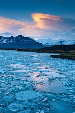 Jokulsarlon Glacial Lagoon at Dusk, Iceland Stock Photo - Rights-Managed, Code: 700-06059816