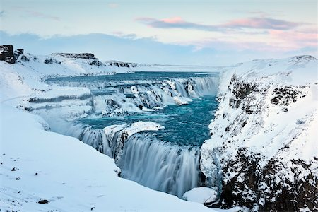 snow - Gullfoss Waterfall in Winter, Hvita River, Iceland Stock Photo - Rights-Managed, Code: 700-06059817