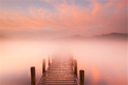 fog (weather) - Dock in Mist at Dawn, Derwentwater, Lake District, Cumbria, England Stock Photo - Rights-Managed, Code: 700-06059810