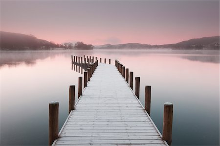 Frost Covered Dock on Misty Morning, Lake District National Park, Cumbria, England Stock Photo - Rights-Managed, Code: 700-06059811