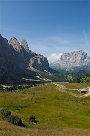 Passo Gardena and Sella Group, Val Gardena, South Tyrol, Trentino Alto Adige, Italy Stock Photo - Rights-Managed, Code: 700-06109504