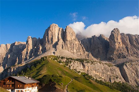 Passo Gardena and Sella Group, Val Gardena, South Tyrol, Trentino Alto Adige, Italy Stock Photo - Rights-Managed, Code: 700-06109506