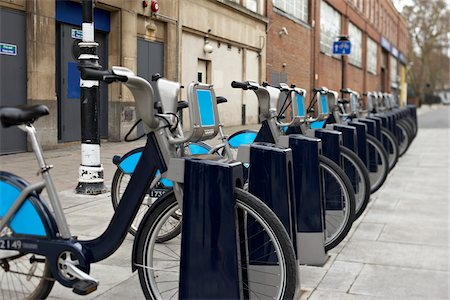 renting - Bicycles at Bicycle Sharing Parking Spot, London, England Stock Photo - Rights-Managed, Code: 700-06109524