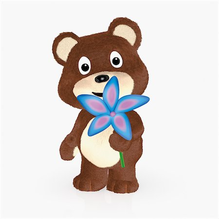 flower illustration - Teddy Bear Holding Flower Stock Photo - Rights-Managed, Code: 700-06119692