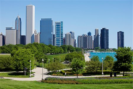 Chicago Skyline from Burnham Park, Chicago, Illinois, USA Stock Photo - Rights-Managed, Code: 700-06125617