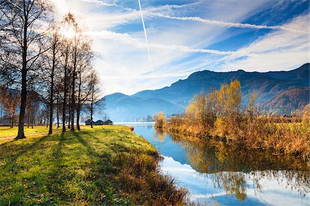 roads and sun - Lake Kochelsee and Mountains in Autumn, Upper Bavaria, Germany Stock Photo - Rights-Managed, Code: 700-06125711